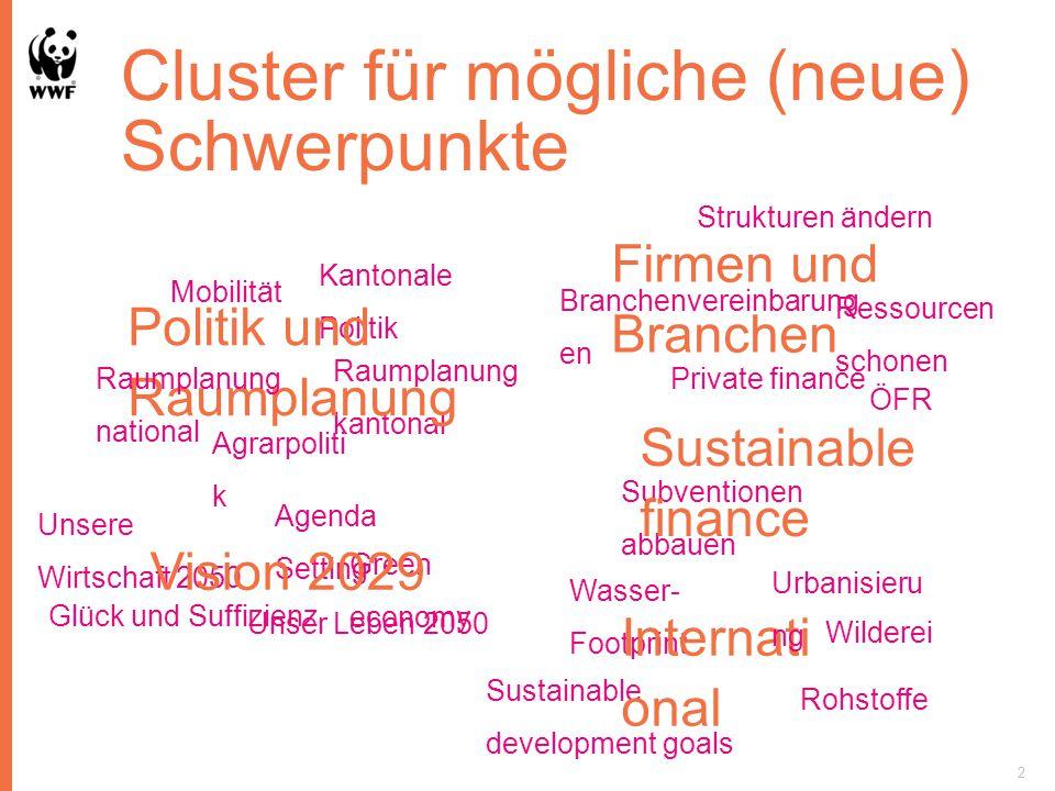 Cluster für mögliche (neue) Schwerpunkte