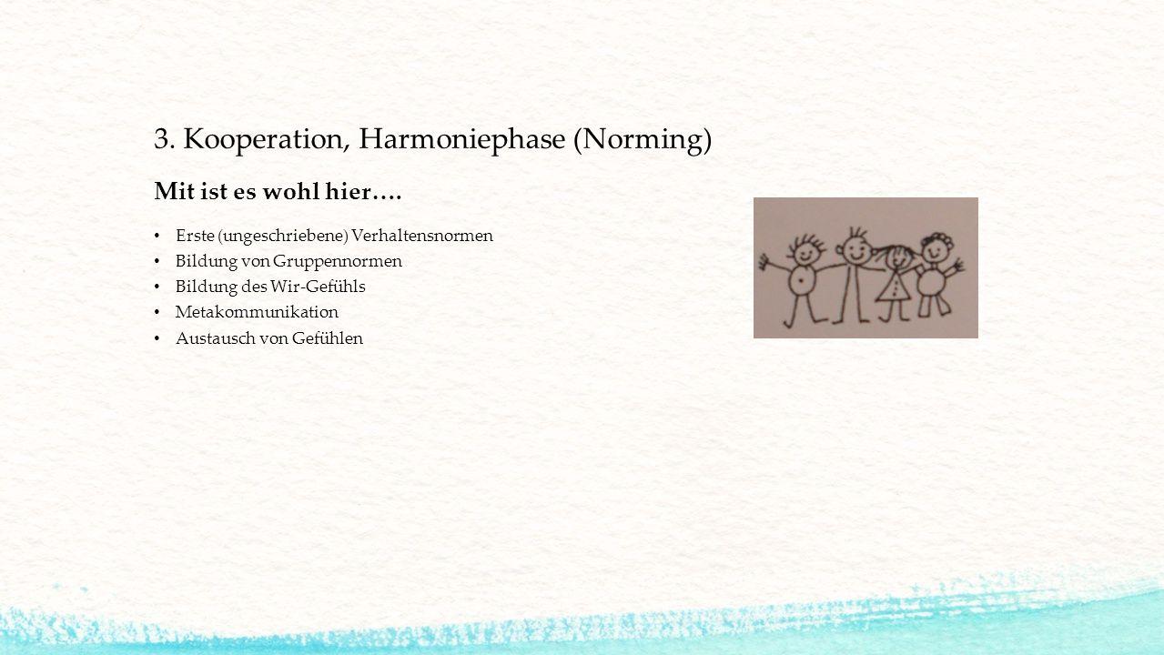 3. Kooperation, Harmoniephase (Norming)