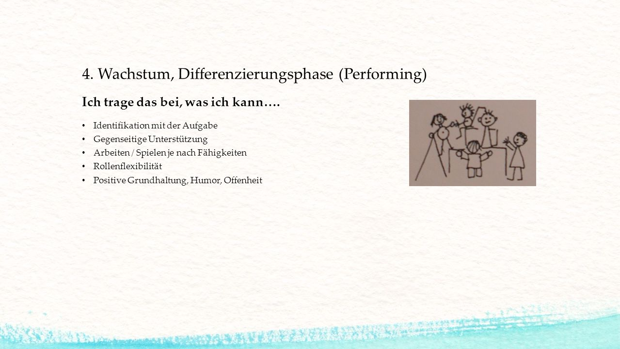 4. Wachstum, Differenzierungsphase (Performing)
