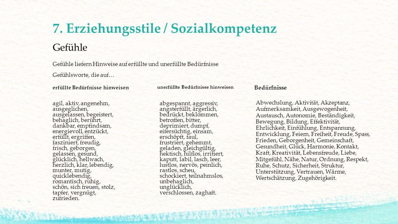 7. Erziehungsstile / Sozialkompetenz