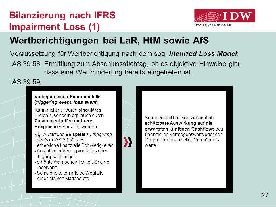 Bilanzierung nach IFRS Impairment Loss (1)