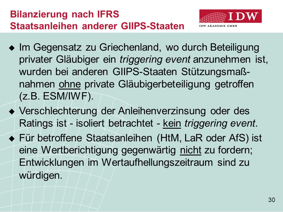 Bilanzierung nach IFRS Staatsanleihen anderer GIIPS-Staaten