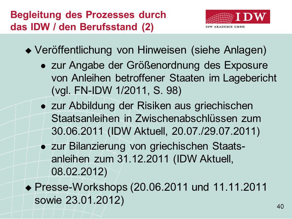 Begleitung des Prozesses durch das IDW / den Berufsstand (2)