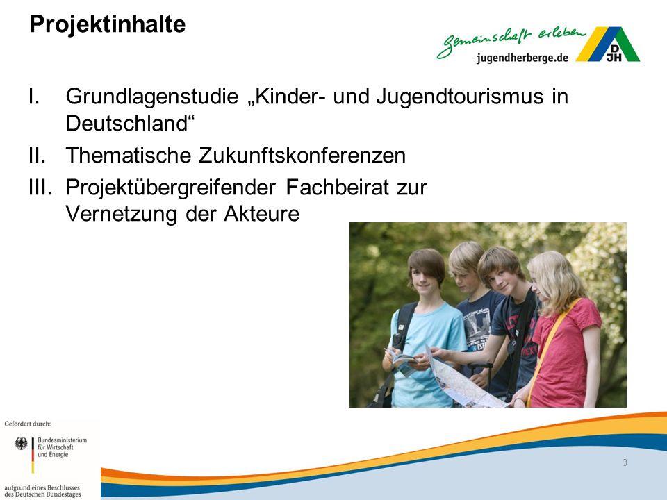 """Projektinhalte Grundlagenstudie """"Kinder- und Jugendtourismus in Deutschland Thematische Zukunftskonferenzen."""