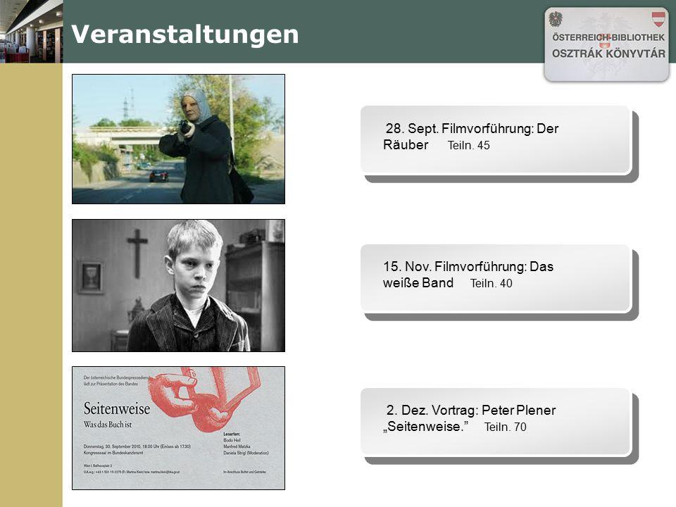 Veranstaltungen 15. Nov. Filmvorführung: Das weiße Band Teiln. 40