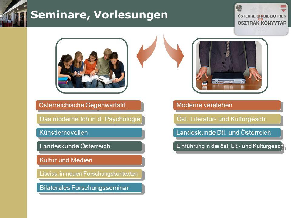 Seminare, Vorlesungen Österreichische Gegenwartslit. Moderne verstehen