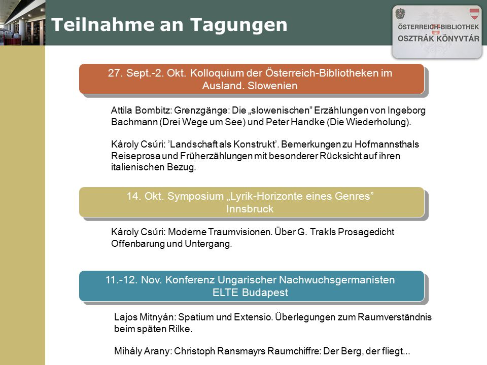 Teilnahme an Tagungen 27. Sept.-2. Okt. Kolloquium der Österreich-Bibliotheken im Ausland. Slowenien.