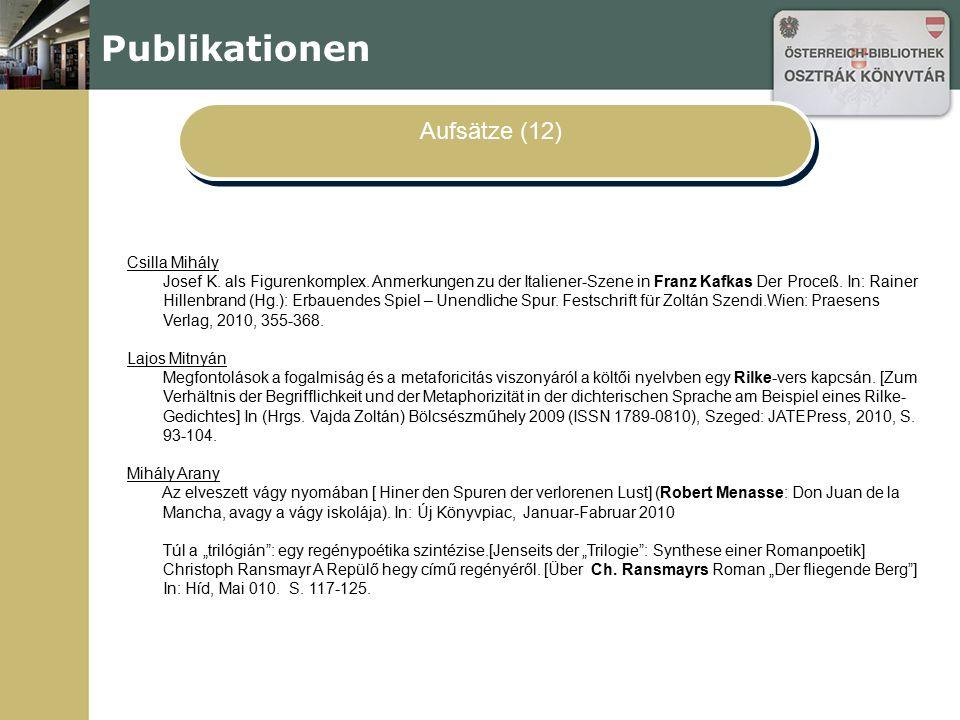 Publikationen Aufsätze (12) Csilla Mihály