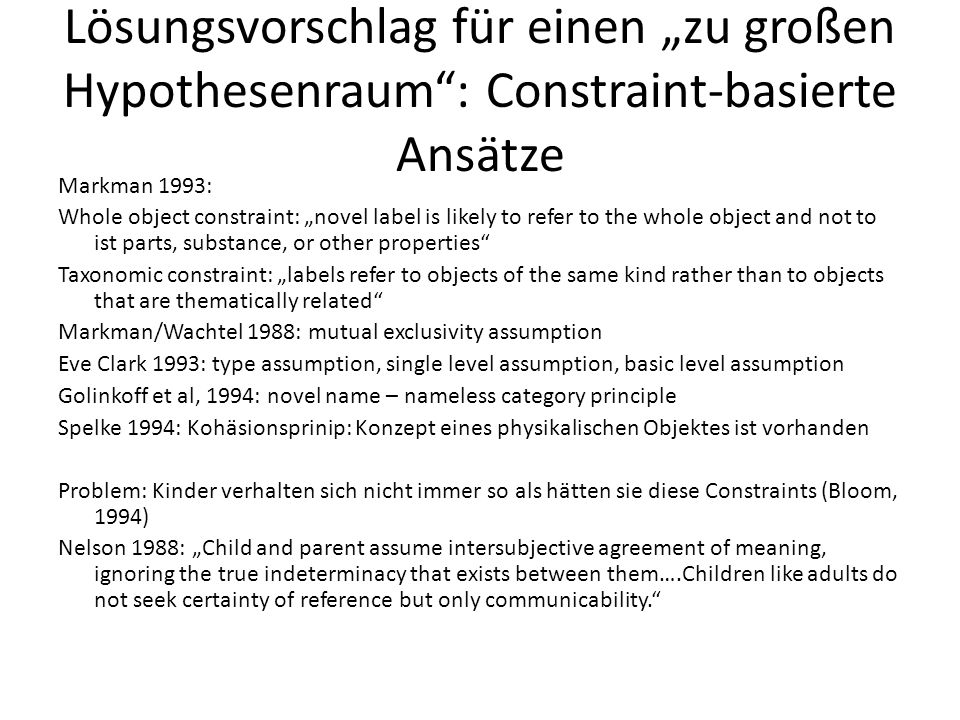 """Lösungsvorschlag für einen """"zu großen Hypothesenraum : Constraint-basierte Ansätze"""