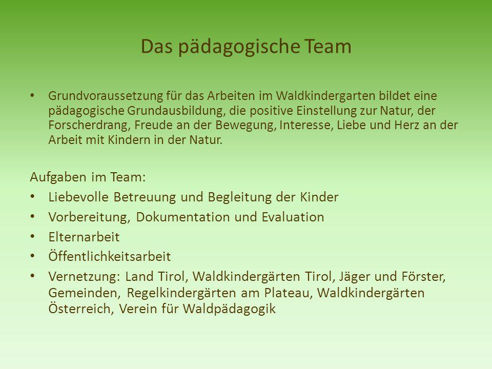 Das pädagogische Team Aufgaben im Team: