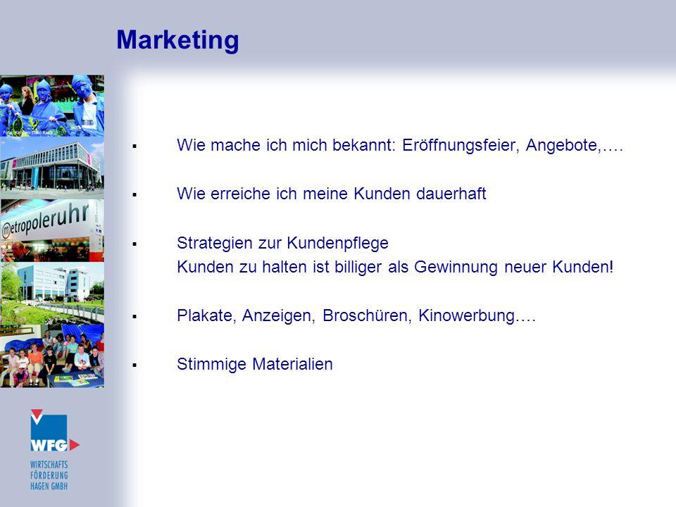Marketing Wie mache ich mich bekannt: Eröffnungsfeier, Angebote,….