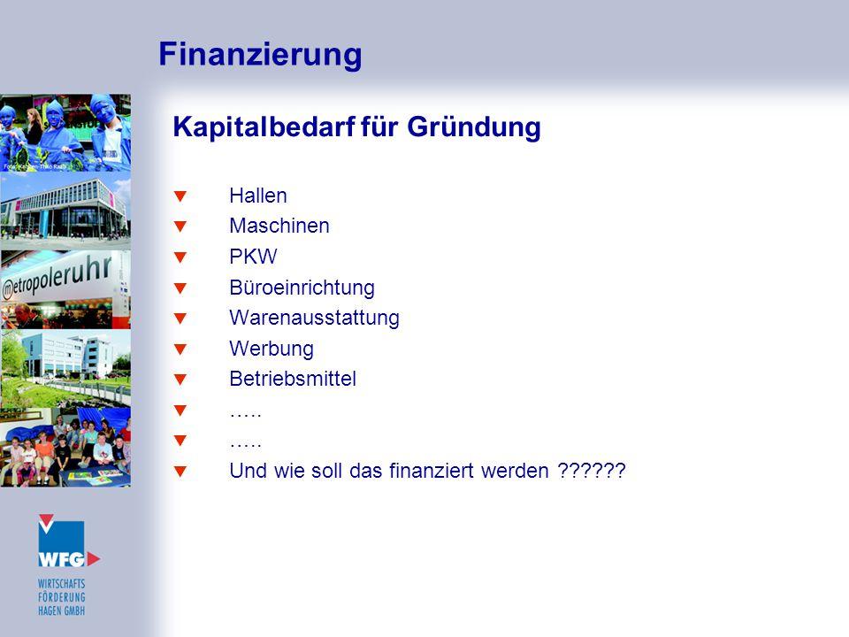 Finanzierung Kapitalbedarf für Gründung Hallen Maschinen PKW