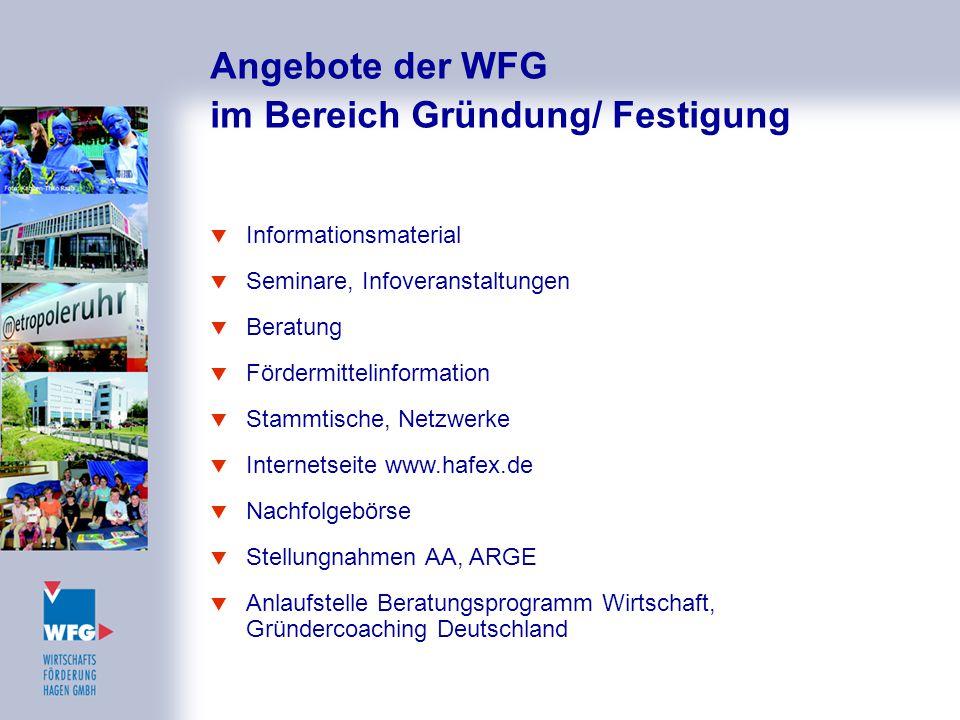Angebote der WFG im Bereich Gründung/ Festigung
