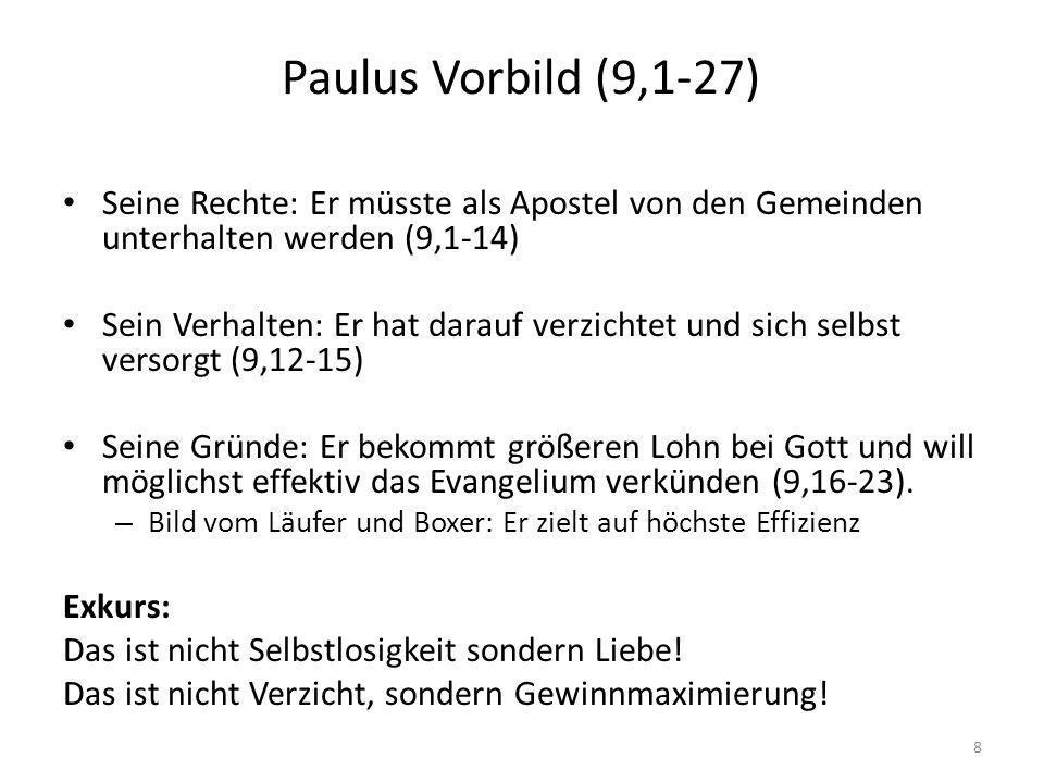 Paulus Vorbild (9,1-27) Seine Rechte: Er müsste als Apostel von den Gemeinden unterhalten werden (9,1-14)