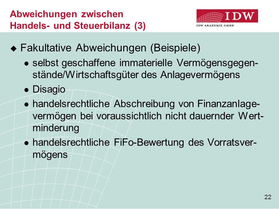 Abweichungen zwischen Handels- und Steuerbilanz (3)