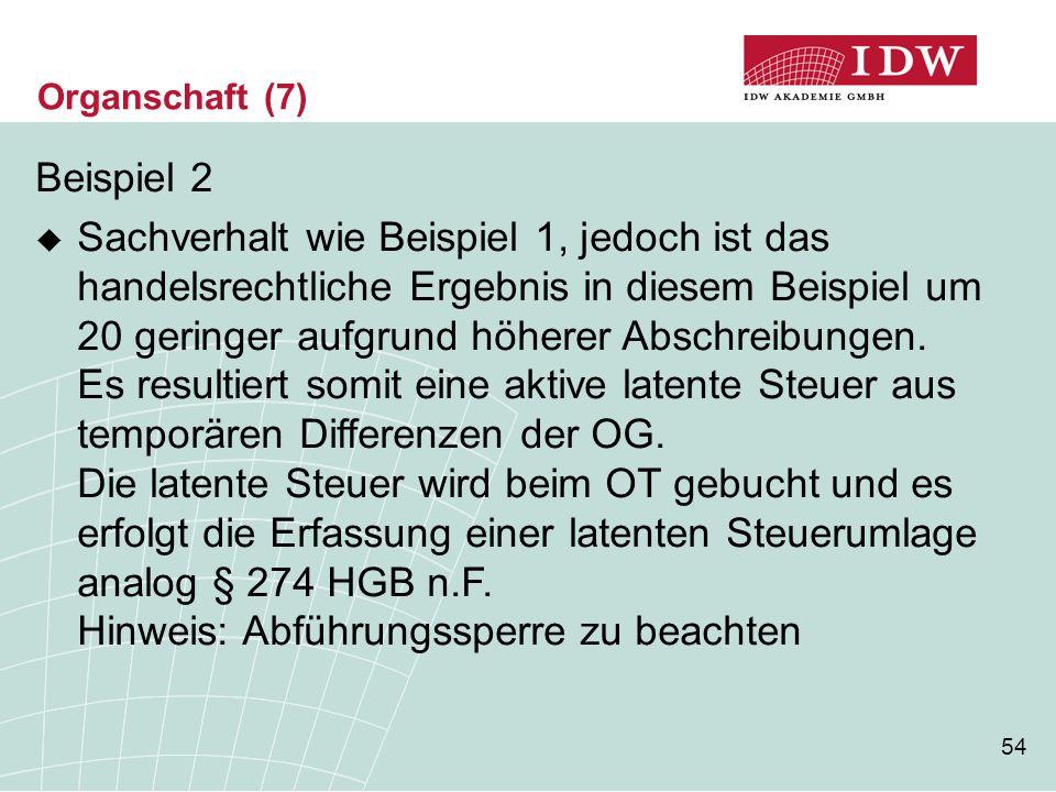 Organschaft (7) Beispiel 2.