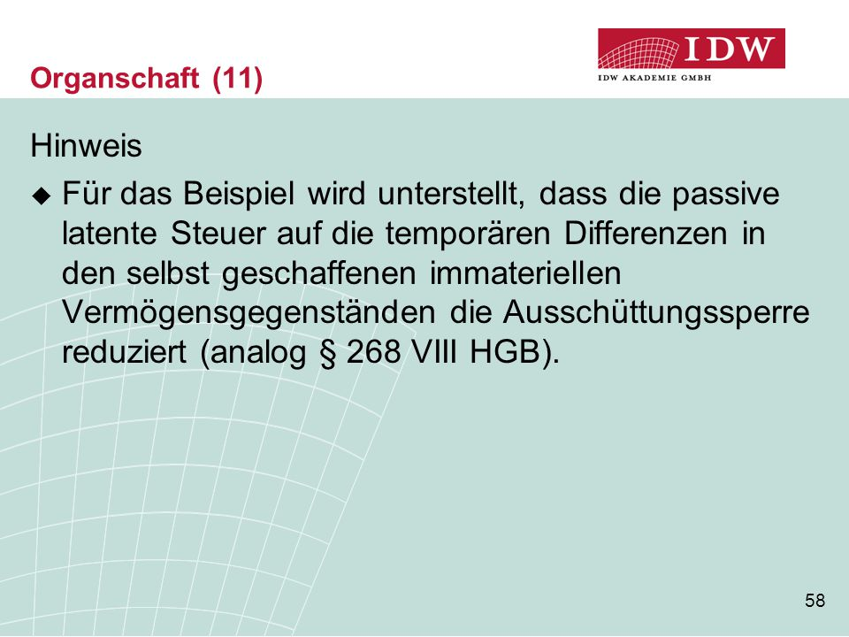 Organschaft (11) Hinweis.