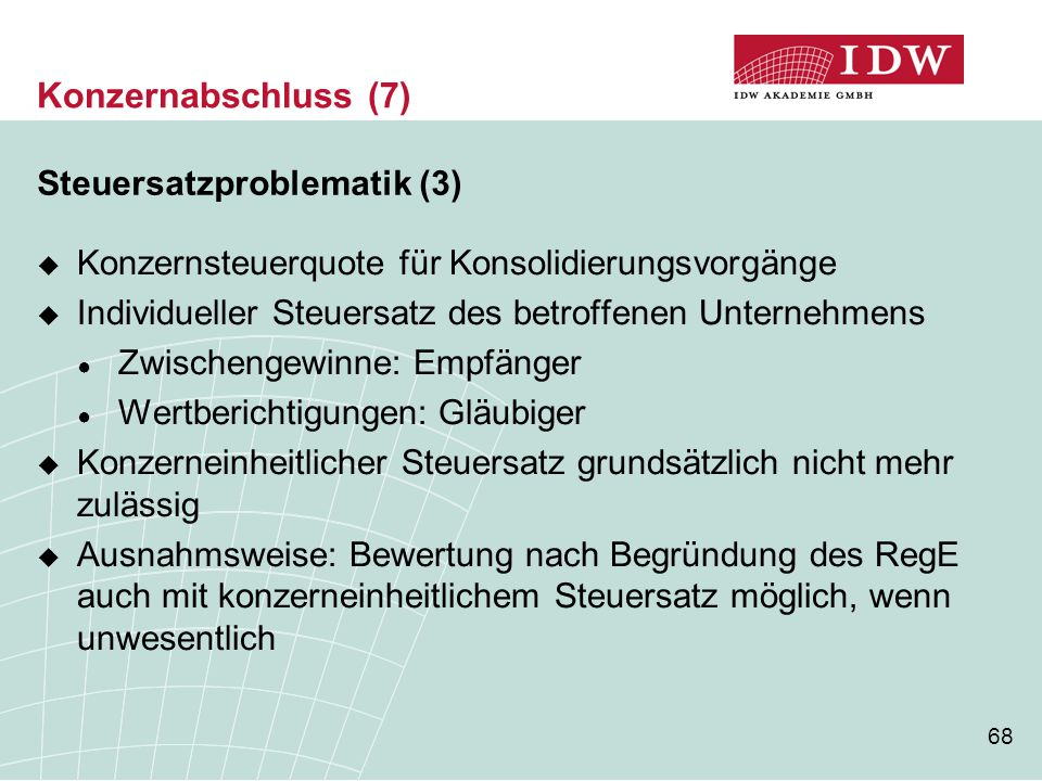 Konzernabschluss (7) Steuersatzproblematik (3)