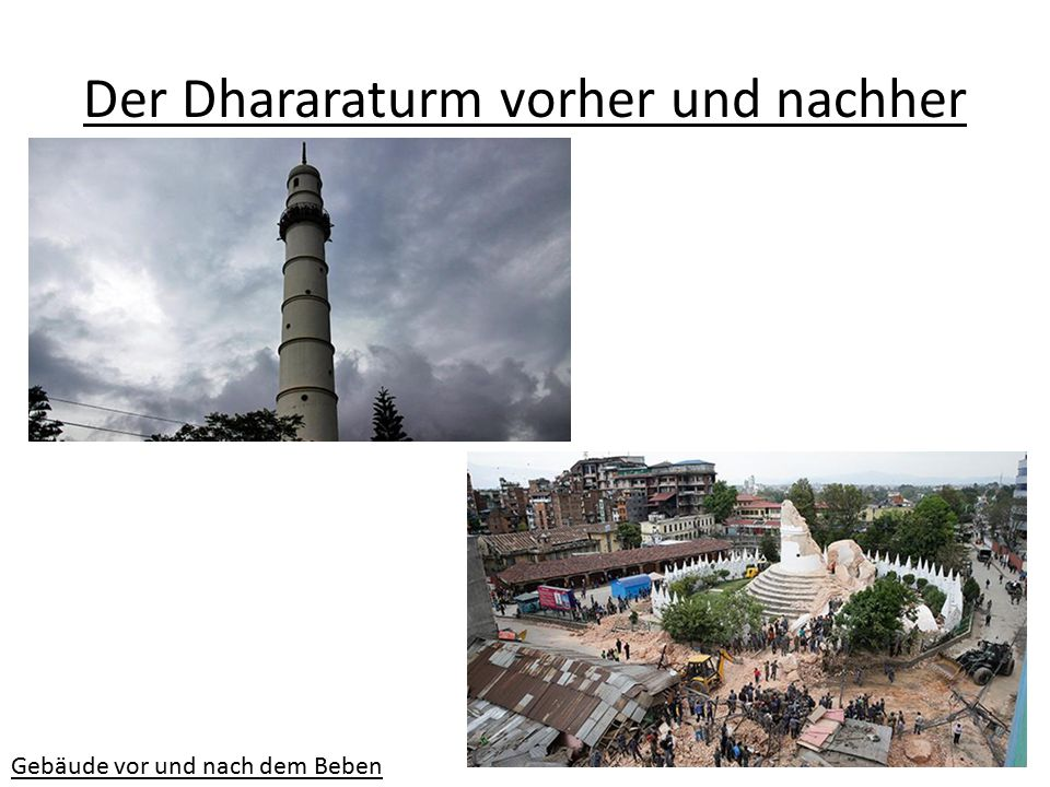 Der Dhararaturm vorher und nachher
