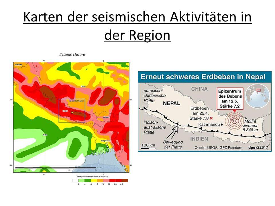 Karten der seismischen Aktivitäten in der Region