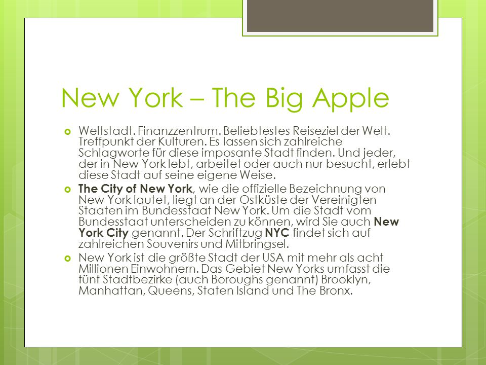 New York – The Big Apple