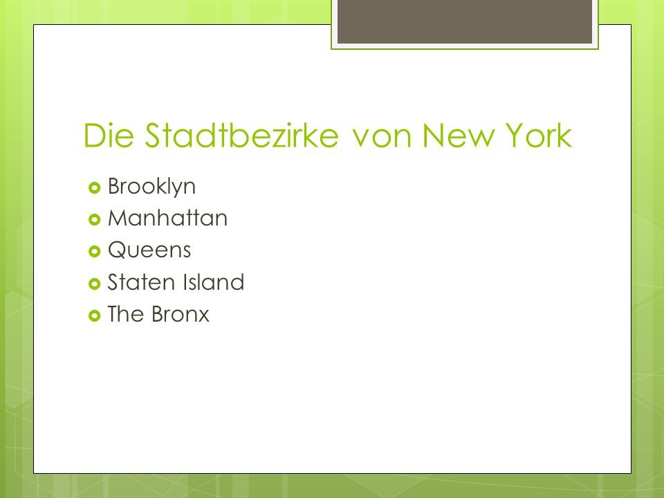 stadtbezirke new york