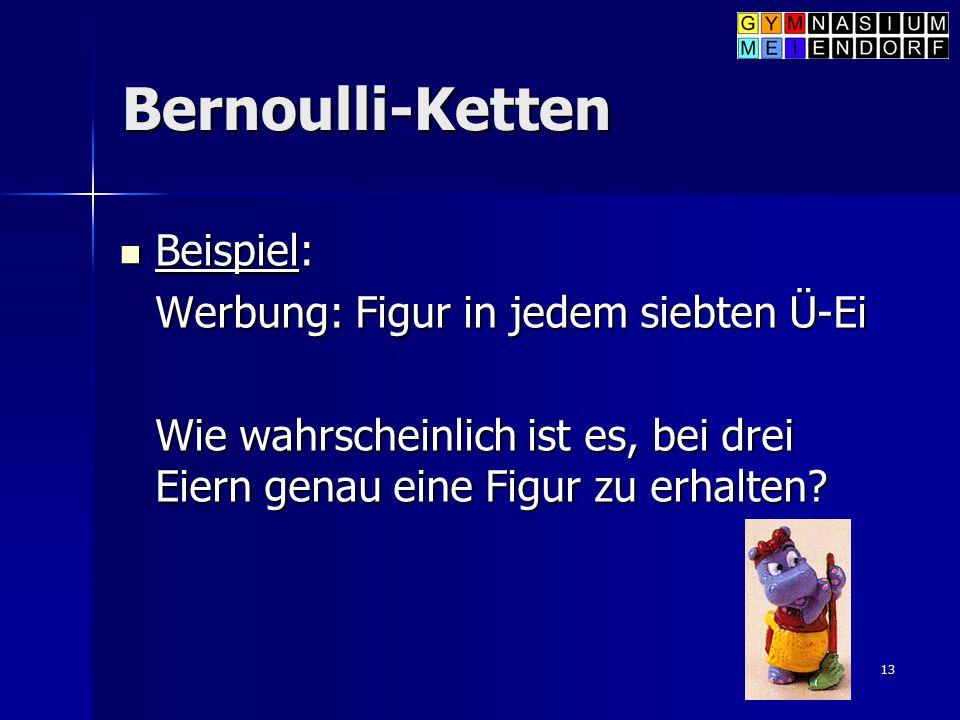 Bernoulli-Ketten Beispiel: Werbung: Figur in jedem siebten Ü-Ei