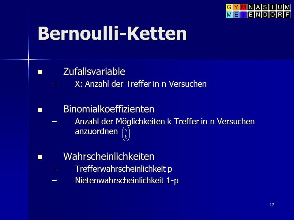 Bernoulli-Ketten Zufallsvariable Binomialkoeffizienten