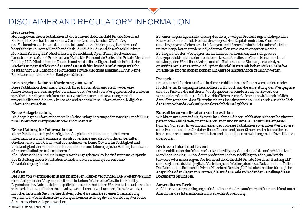Disclaimer and regulatory information