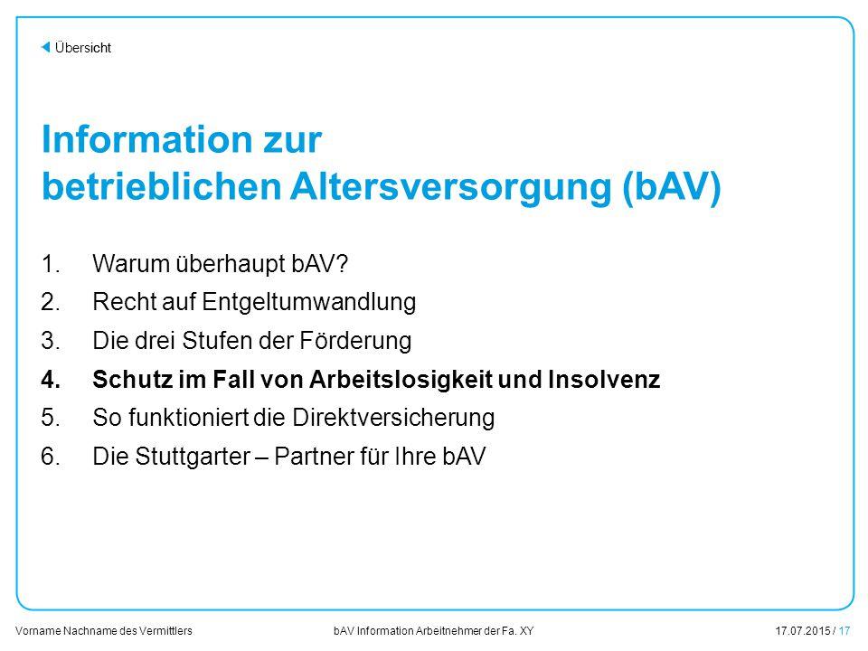 Information zur betrieblichen Altersversorgung (bAV)