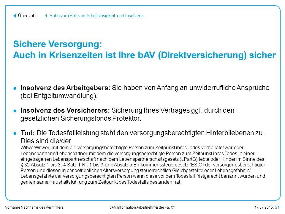 01.01.2014 4. Schutz im Fall von Arbeitslosigkeit und Insolvenz. Sichere Versorgung: Auch in Krisenzeiten ist Ihre bAV (Direktversicherung) sicher.
