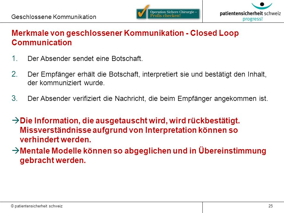 Merkmale von geschlossener Kommunikation - Closed Loop Communication