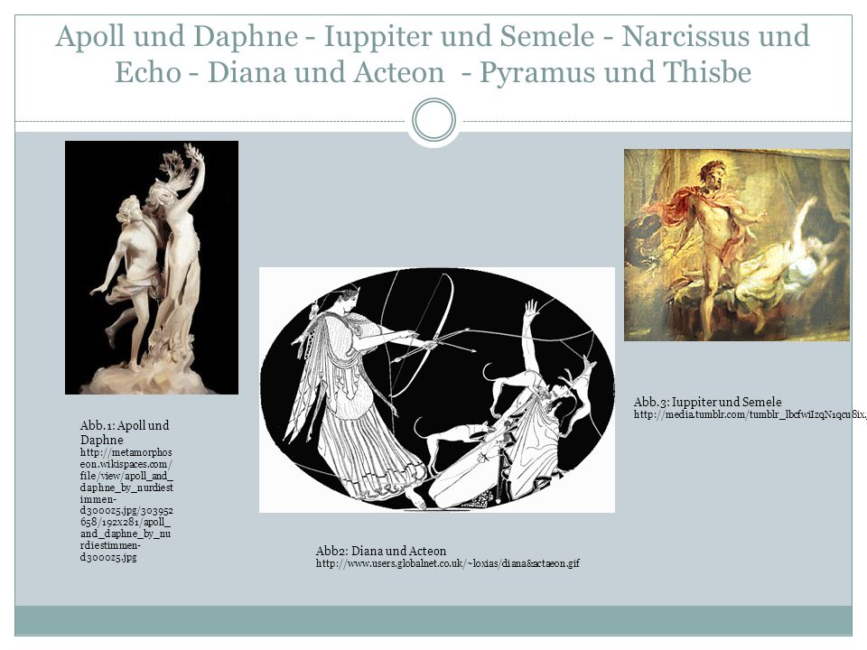 Apoll und Daphne - Iuppiter und Semele - Narcissus und Echo - Diana und Acteon - Pyramus und Thisbe