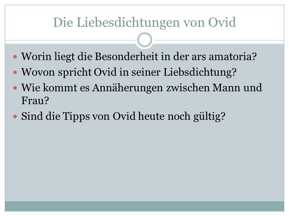 Die Liebesdichtungen von Ovid