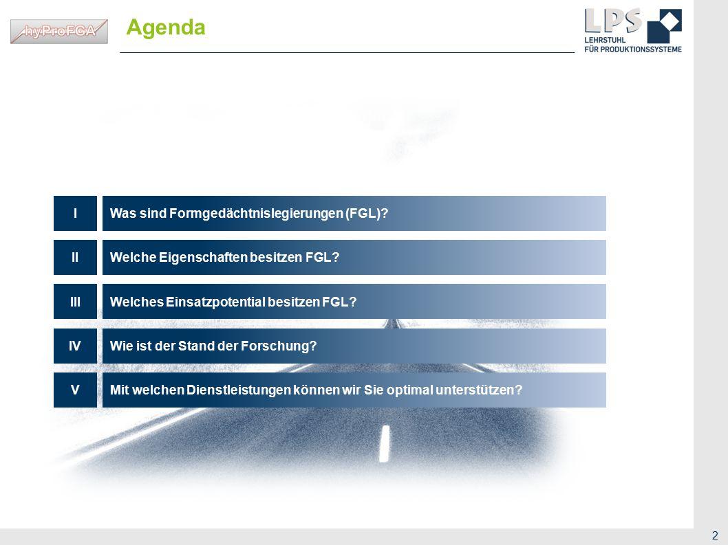 Agenda Was sind Formgedächtnislegierungen (FGL) I