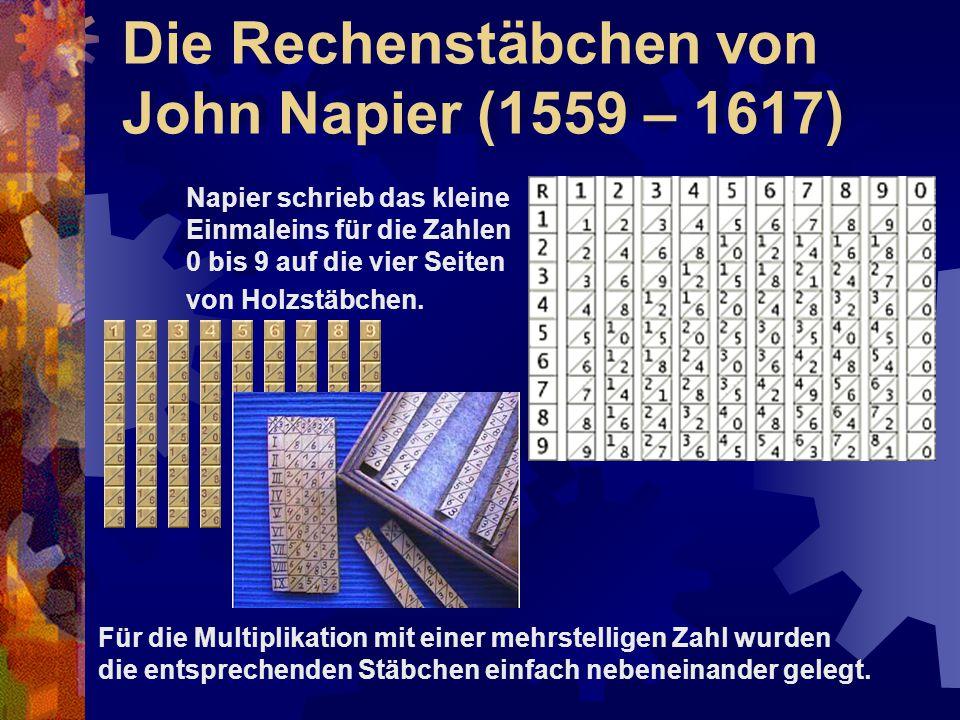 Die Rechenstäbchen von John Napier (1559 – 1617)
