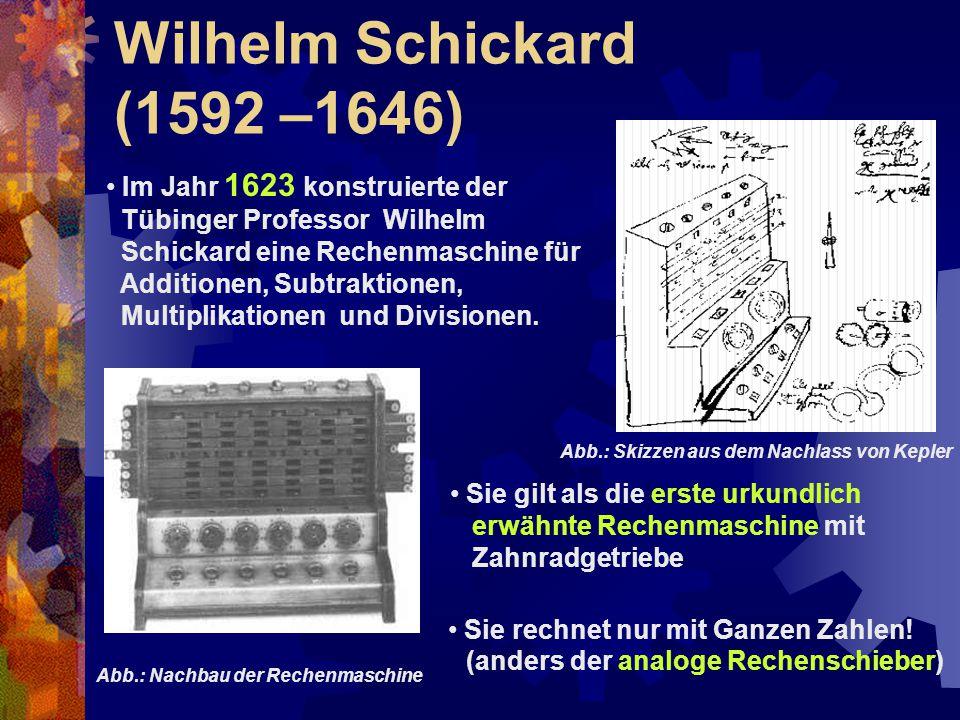 Wilhelm Schickard (1592 –1646) Im Jahr 1623 konstruierte der