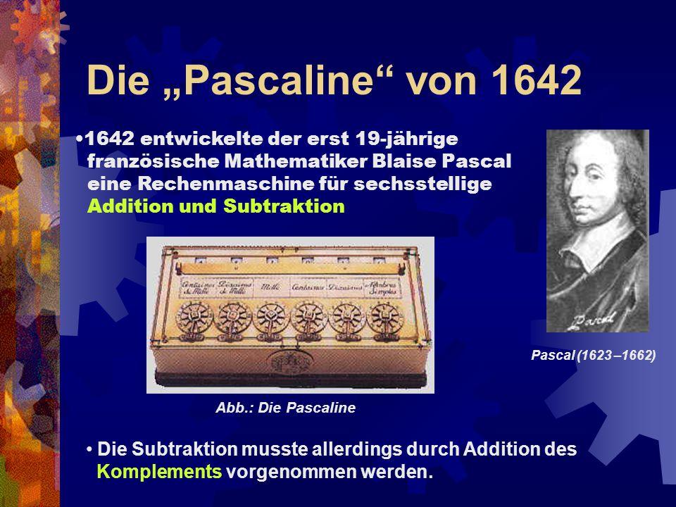 """Die """"Pascaline von 1642 1642 entwickelte der erst 19-jährige"""