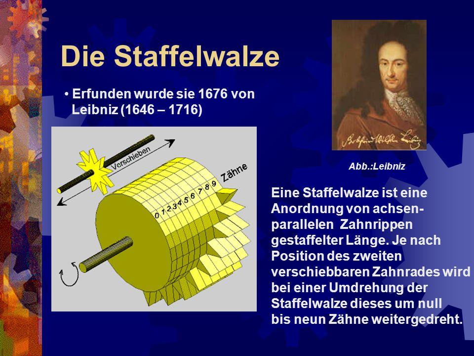 Die Staffelwalze Erfunden wurde sie 1676 von Leibniz (1646 – 1716)