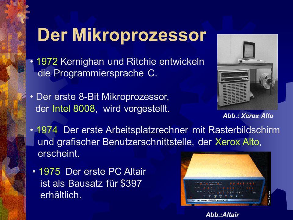 Der Mikroprozessor 1972 Kernighan und Ritchie entwickeln