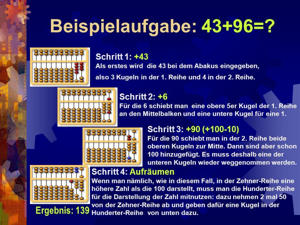 Beispielaufgabe: 43+96= Ergebnis: 139