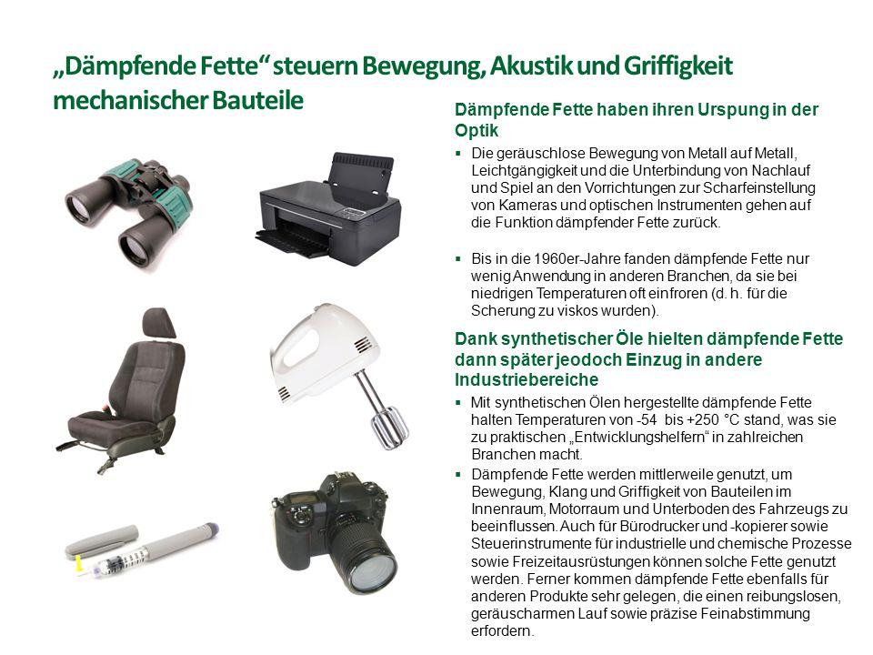 """""""Dämpfende Fette steuern Bewegung, Akustik und Griffigkeit mechanischer Bauteile"""