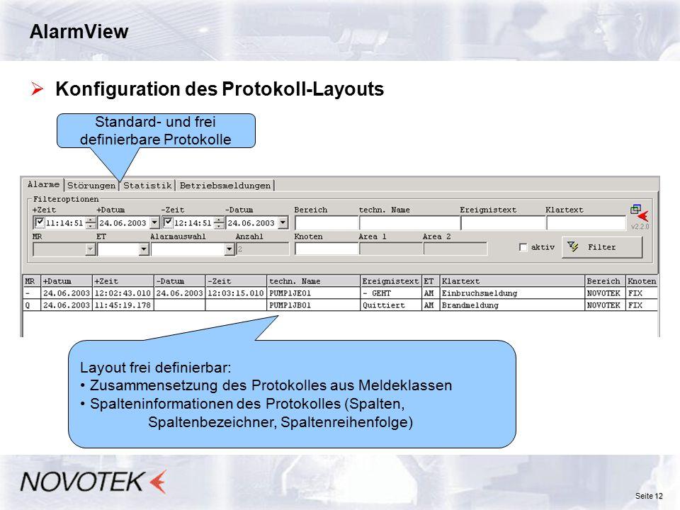 Standard- und frei definierbare Protokolle
