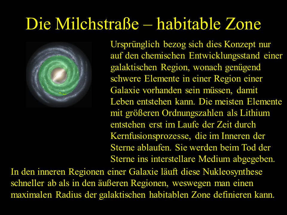 Die Milchstraße – habitable Zone