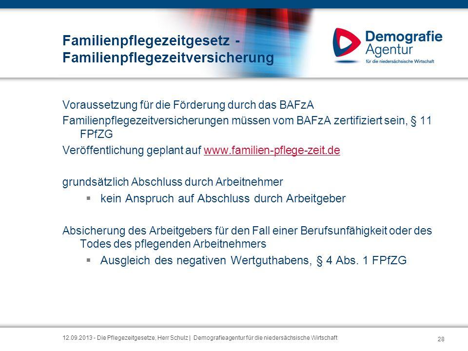 Familienpflegezeitgesetz - Familienpflegezeitversicherung