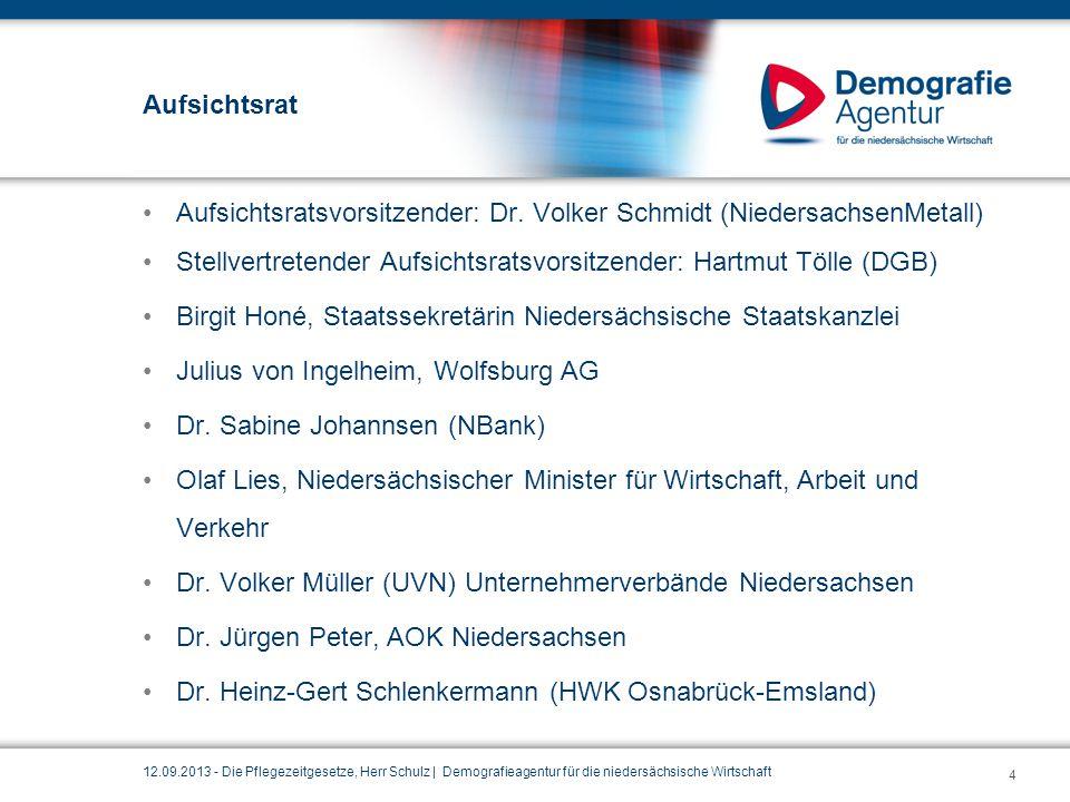 Aufsichtsratsvorsitzender: Dr. Volker Schmidt (NiedersachsenMetall)