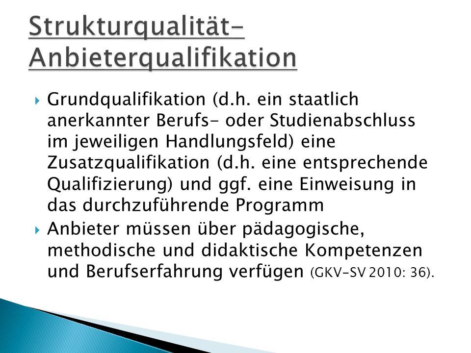 Strukturqualität- Anbieterqualifikation