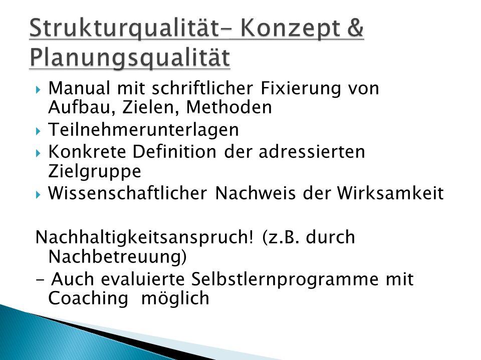 Strukturqualität- Konzept & Planungsqualität