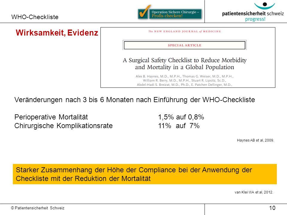 WHO-Checkliste Wirksamkeit, Evidenz. Veränderungen nach 3 bis 6 Monaten nach Einführung der WHO-Checkliste.