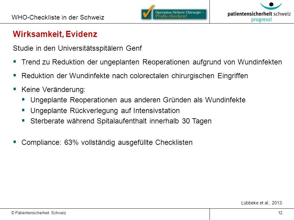 Wirksamkeit, Evidenz Studie in den Universitätsspitälern Genf